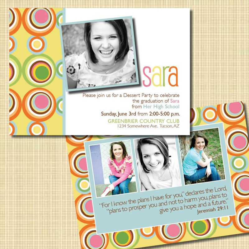 Custom graduation invitation bright colors